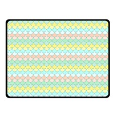 Scallop Repeat Pattern In Miami Pastel Aqua, Pink, Mint And Lemon Double Sided Fleece Blanket (small)  by PaperandFrill