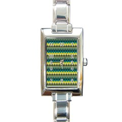 Scallop Pattern Repeat In  new York  Teal, Mustard, Grey And Moss Rectangle Italian Charm Watches by PaperandFrill