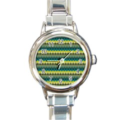 Scallop Pattern Repeat In  new York  Teal, Mustard, Grey And Moss Round Italian Charm Watches by PaperandFrill