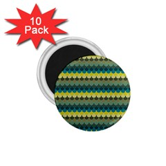 Scallop Pattern Repeat In  new York  Teal, Mustard, Grey And Moss 1 75  Magnets (10 Pack)  by PaperandFrill