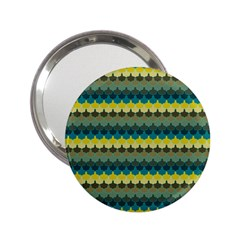 Scallop Pattern Repeat In  new York  Teal, Mustard, Grey And Moss 2 25  Handbag Mirrors by PaperandFrill