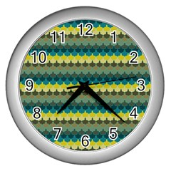 Scallop Pattern Repeat In  new York  Teal, Mustard, Grey And Moss Wall Clocks (silver)  by PaperandFrill