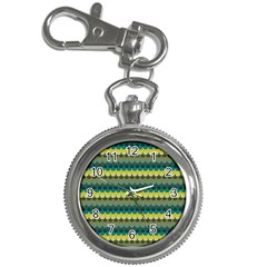Scallop Pattern Repeat In  new York  Teal, Mustard, Grey And Moss Key Chain Watches by PaperandFrill