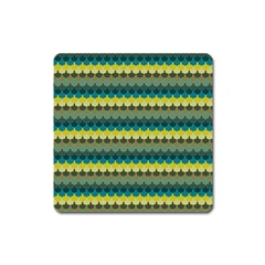 Scallop Pattern Repeat In  new York  Teal, Mustard, Grey And Moss Square Magnet by PaperandFrill