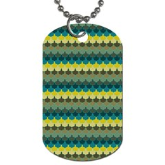 Scallop Pattern Repeat In  new York  Teal, Mustard, Grey And Moss Dog Tag (two Sides) by PaperandFrill