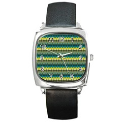Scallop Pattern Repeat In  new York  Teal, Mustard, Grey And Moss Square Metal Watches by PaperandFrill