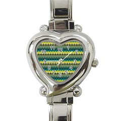 Scallop Pattern Repeat In  new York  Teal, Mustard, Grey And Moss Heart Italian Charm Watch by PaperandFrill