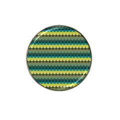 Scallop Pattern Repeat In  new York  Teal, Mustard, Grey And Moss Hat Clip Ball Marker by PaperandFrill