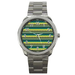 Scallop Pattern Repeat In  new York  Teal, Mustard, Grey And Moss Sport Metal Watches by PaperandFrill