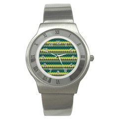 Scallop Pattern Repeat In  new York  Teal, Mustard, Grey And Moss Stainless Steel Watches by PaperandFrill