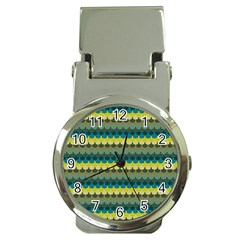 Scallop Pattern Repeat In  new York  Teal, Mustard, Grey And Moss Money Clip Watches by PaperandFrill