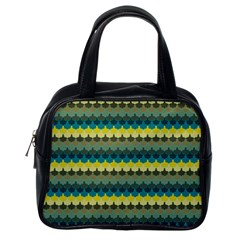 Scallop Pattern Repeat In  new York  Teal, Mustard, Grey And Moss Classic Handbags (one Side) by PaperandFrill