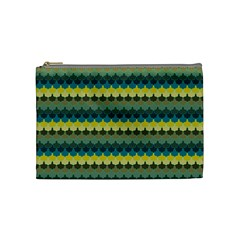 Scallop Pattern Repeat In  new York  Teal, Mustard, Grey And Moss Cosmetic Bag (medium)  by PaperandFrill