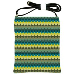 Scallop Pattern Repeat In  new York  Teal, Mustard, Grey And Moss Shoulder Sling Bags by PaperandFrill