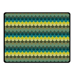 Scallop Pattern Repeat In  new York  Teal, Mustard, Grey And Moss Fleece Blanket (small) by PaperandFrill