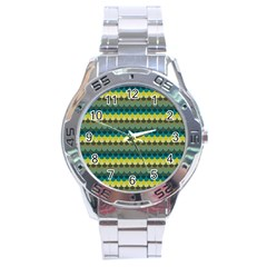 Scallop Pattern Repeat In  new York  Teal, Mustard, Grey And Moss Stainless Steel Men s Watch by PaperandFrill