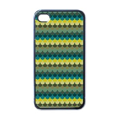 Scallop Pattern Repeat In  new York  Teal, Mustard, Grey And Moss Apple Iphone 4 Case (black) by PaperandFrill