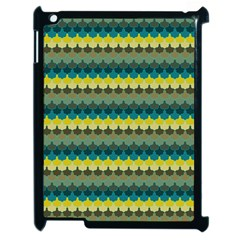 Scallop Pattern Repeat In  new York  Teal, Mustard, Grey And Moss Apple Ipad 2 Case (black) by PaperandFrill