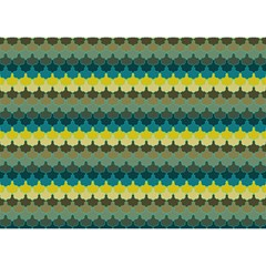 Scallop Pattern Repeat In  new York  Teal, Mustard, Grey And Moss Birthday Cake 3d Greeting Card (7x5)
