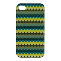 Scallop Pattern Repeat In  new York  Teal, Mustard, Grey And Moss Apple Iphone 4/4s Premium Hardshell Case by PaperandFrill