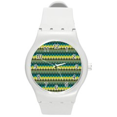 Scallop Pattern Repeat In  new York  Teal, Mustard, Grey And Moss Round Plastic Sport Watch (m) by PaperandFrill