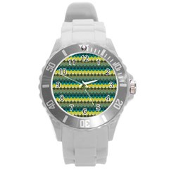 Scallop Pattern Repeat In  new York  Teal, Mustard, Grey And Moss Round Plastic Sport Watch (l) by PaperandFrill