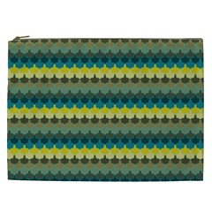 Scallop Pattern Repeat In  new York  Teal, Mustard, Grey And Moss Cosmetic Bag (xxl)  by PaperandFrill