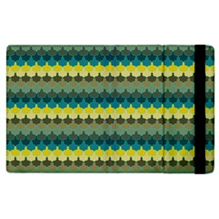 Scallop Pattern Repeat In  new York  Teal, Mustard, Grey And Moss Apple Ipad 3/4 Flip Case by PaperandFrill