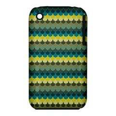Scallop Pattern Repeat In  new York  Teal, Mustard, Grey And Moss Apple Iphone 3g/3gs Hardshell Case (pc+silicone) by PaperandFrill