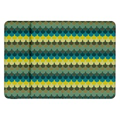 Scallop Pattern Repeat In  new York  Teal, Mustard, Grey And Moss Samsung Galaxy Tab 8 9  P7300 Flip Case by PaperandFrill