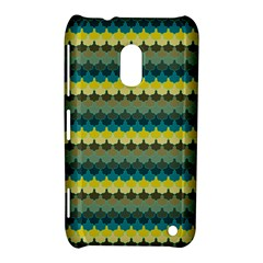 Scallop Pattern Repeat In  new York  Teal, Mustard, Grey And Moss Nokia Lumia 620 by PaperandFrill