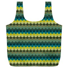 Scallop Pattern Repeat In  new York  Teal, Mustard, Grey And Moss Full Print Recycle Bags (l)  by PaperandFrill