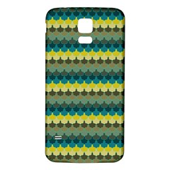 Scallop Pattern Repeat In  new York  Teal, Mustard, Grey And Moss Samsung Galaxy S5 Back Case (white) by PaperandFrill