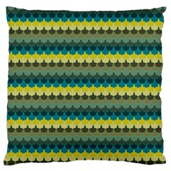 Scallop Pattern Repeat In  new York  Teal, Mustard, Grey And Moss Large Flano Cushion Cases (one Side)  by PaperandFrill