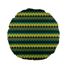 Scallop Pattern Repeat In  new York  Teal, Mustard, Grey And Moss Standard 15  Premium Flano Round Cushions by PaperandFrill