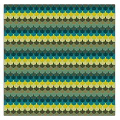 Scallop Pattern Repeat In  new York  Teal, Mustard, Grey And Moss Large Satin Scarf (square) by PaperandFrill