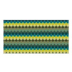 Scallop Pattern Repeat In  new York  Teal, Mustard, Grey And Moss Satin Shawl by PaperandFrill