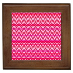 Valentine Pink And Red Wavy Chevron Zigzag Pattern Framed Tiles by PaperandFrill