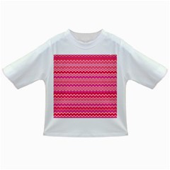 Valentine Pink And Red Wavy Chevron Zigzag Pattern Infant/toddler T Shirts by PaperandFrill