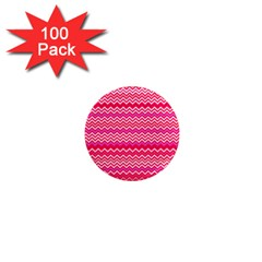 Valentine Pink And Red Wavy Chevron Zigzag Pattern 1  Mini Magnets (100 Pack)  by PaperandFrill