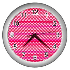 Valentine Pink And Red Wavy Chevron Zigzag Pattern Wall Clocks (silver)  by PaperandFrill