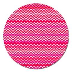 Valentine Pink And Red Wavy Chevron Zigzag Pattern Magnet 5  (round) by PaperandFrill