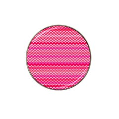 Valentine Pink And Red Wavy Chevron Zigzag Pattern Hat Clip Ball Marker by PaperandFrill