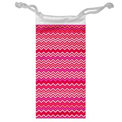 Valentine Pink And Red Wavy Chevron Zigzag Pattern Jewelry Bags by PaperandFrill