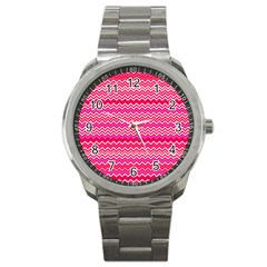 Valentine Pink And Red Wavy Chevron Zigzag Pattern Sport Metal Watches by PaperandFrill