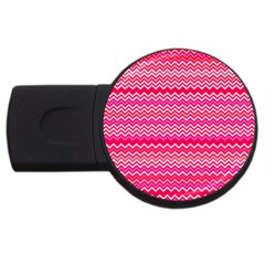 Valentine Pink And Red Wavy Chevron Zigzag Pattern Usb Flash Drive Round (4 Gb)  by PaperandFrill