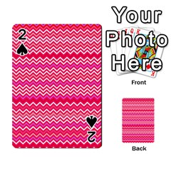Valentine Pink And Red Wavy Chevron Zigzag Pattern Playing Cards 54 Designs
