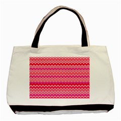 Valentine Pink And Red Wavy Chevron Zigzag Pattern Basic Tote Bag  by PaperandFrill
