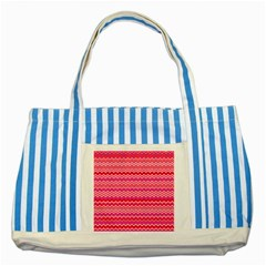 Valentine Pink And Red Wavy Chevron Zigzag Pattern Striped Blue Tote Bag  by PaperandFrill