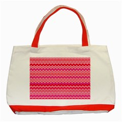 Valentine Pink And Red Wavy Chevron Zigzag Pattern Classic Tote Bag (red)  by PaperandFrill